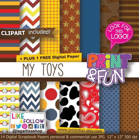 Digital Paper, western Patterns, Background, kerchief, cow print, country, jeans, sheriff, for party printables, invitations, scrapbooking