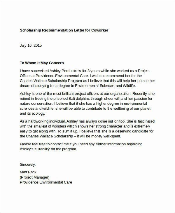 Sample Recommendation Letter For Coworker Beautiful 13 Coworker Re Mendation Letter Templat In 2020 Reference Letter Letter Of Recommendation Reference Letter Template