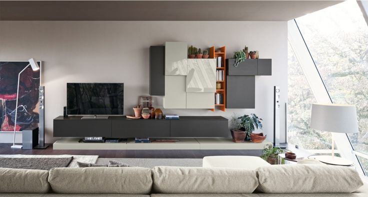 32 best compositions murales meubles tv design images on. Black Bedroom Furniture Sets. Home Design Ideas