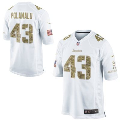 Nike Troy Polamalu Pittsburgh Steelers Salute to Service Game Jersey - White #SalutetoService