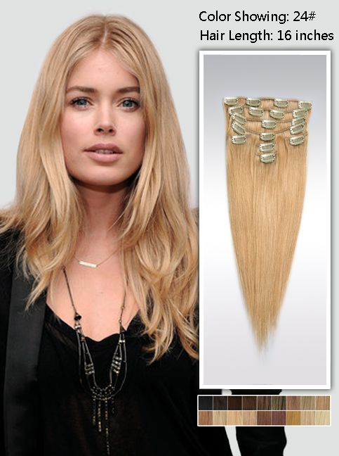 Blonde Hair Extensions clip in16'