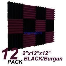 "12 Pack Wedge BLACK/Burgundy Acoustic Soundproofing Studio Foam Tiles 2""x12""x12"""