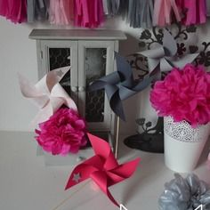 10 moulins à vent argenté rose fuchsia gris - décoration mariage ...