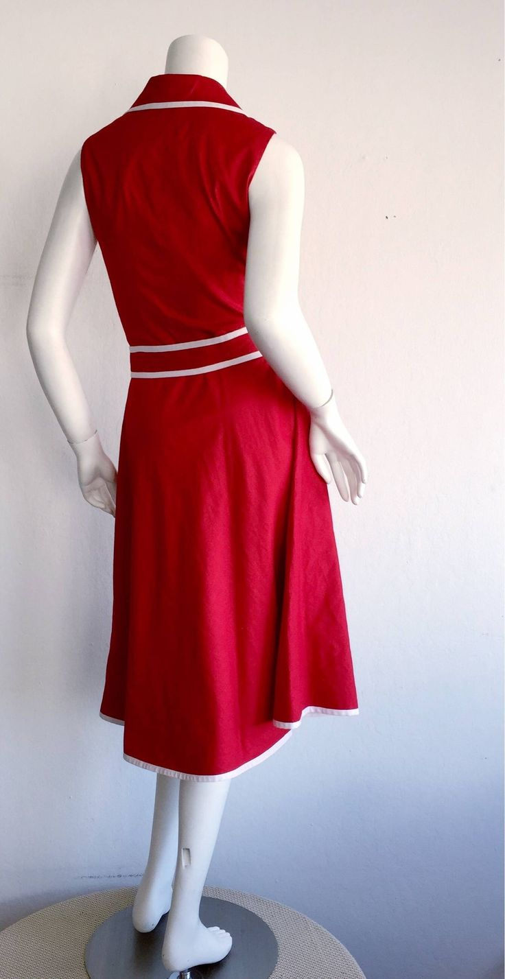 Sweet 90s Vintage Neiman Marcus Red 50s Rockabilly Inspired Nautical Shirt Dress image 5