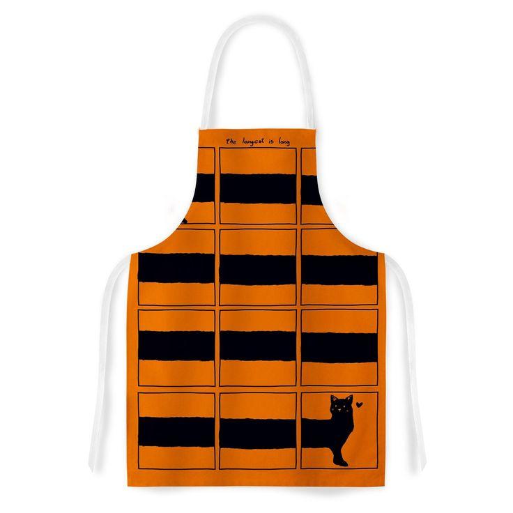 Kess InHouse Tobe Fonseca The Long Cat is Long Orange Black Artistic Apron