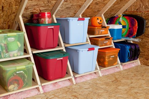 Attic Organization. Shelves in wasted space. Color organization according to season