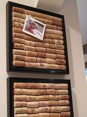 "I've seen corks used in many DIY projects, but I really like this ""cork board"" idea for displaying pictures."