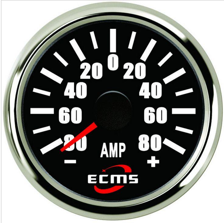 ECMS Marine Car Amperemeter With Current Pick-Up ±80A 52mm Chrome black