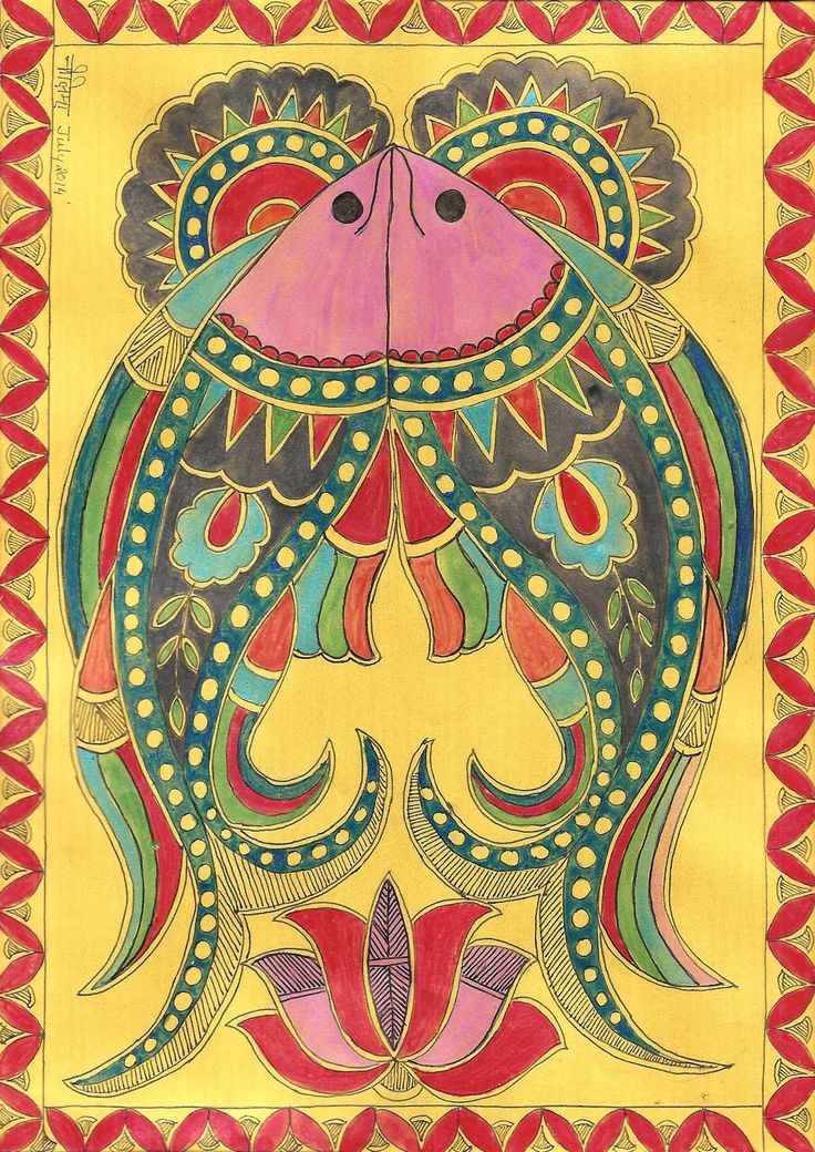 Madhubani Fish Motif Art Indian Mithila Handmade Miniature Tribal ...