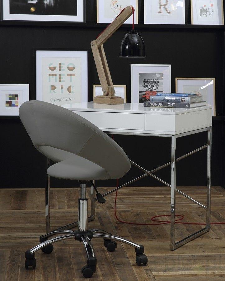 Fotel biurowy Elio, szary, eko skóra-Plump Actona (0000061288), Actona - Meble