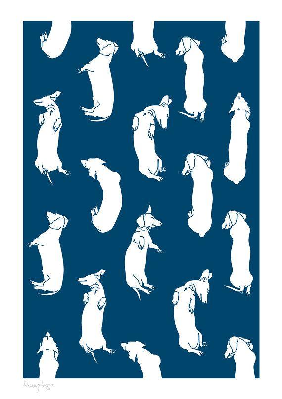 Beaucoup de Teckels somnolents Art Print. Choix de couleur personnalisée. Illustrations de mon teckel animaux de dormir postions