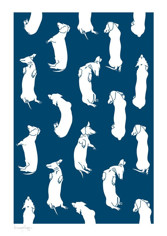 Lots of Sleepy Dachshunds Art Print. Custom by whitewiththree, $30.00