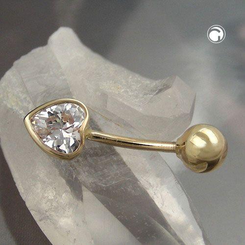 Navelsmycke Hjärta Zirconia 14K Guld