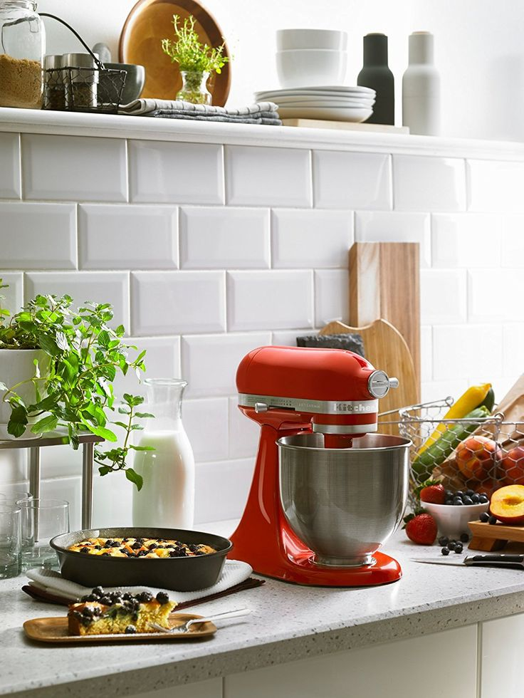This red Hot Sauce Mini Artisan mixer looks at home on any kitchen counter.
