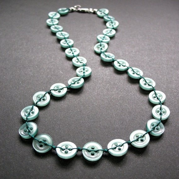 Monochromatic green stitched modern button necklace with sterling silver
