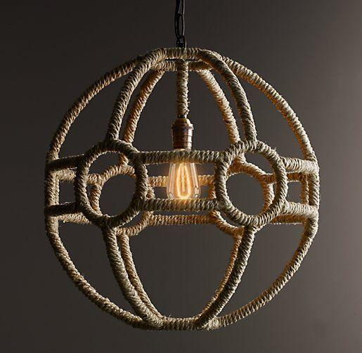 Rope Orb Pendant- Boys room center light ------279