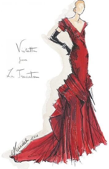 Designers Sketch Their Fantasy Opera Costumes: Violetta in La traviata by Gilles Mendel.