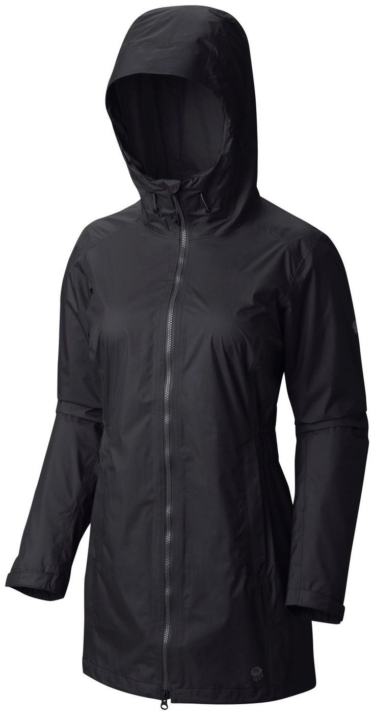 Mountain Hardwear Finder Parka - Women's Black/Graphite Large. Dry Q waterproof, breathable technology banishes moisture. Adjustable hood allows you to easily customize the fit. Fixed elastic on each side for waist articulation and a feminine silhouette. Covered side pockets keep hands warm. Drop mesh liner for ease of layering.