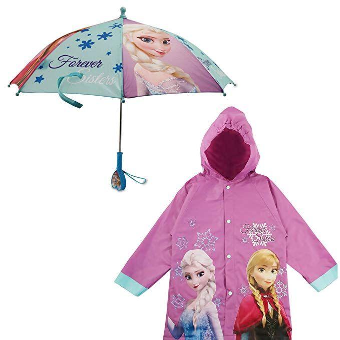 Toddler Disney Frozen Little Girls Waterproof Outwear Hooded Rain Slicker