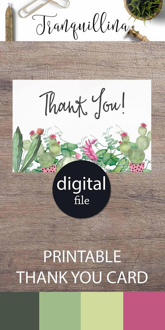 succulent thank you card fiesta baby shower or bridal shower thank you card cactus party ideas