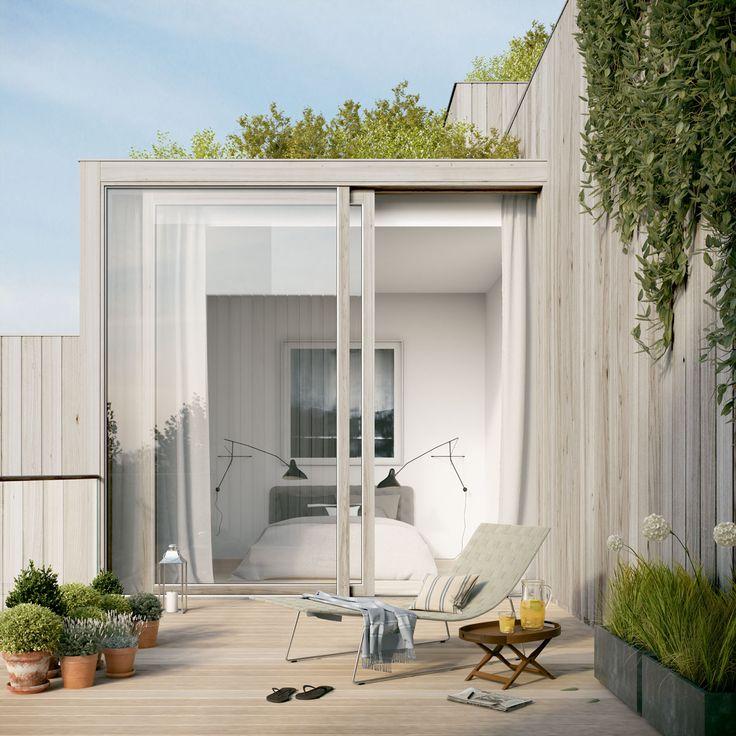 Oscar Properties #oscarproperties BIG, Stockholm, terrace, cedar, flowers, interior, design