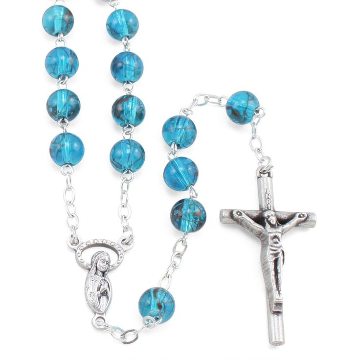 Blue Glass Beads Speckled with Auburn Highlights Rosary, an oxidized Mary with praying hands center and Crucifix. Made in Italy!
