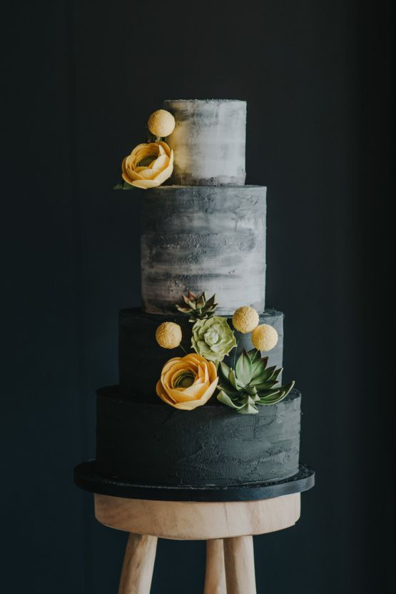 Modern wedding ideas for edgy brides (you need this charcoal cake) - #