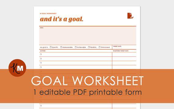 Zielsetzung-Arbeitsblatt - 1 Seite druckbare editierbare PDF-Formular