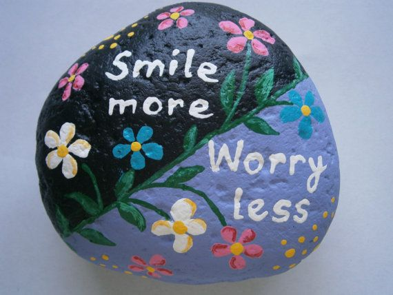 Painted rock Smile more worry less by PlaceForYou on Etsy