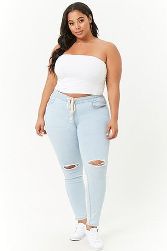 2f5729a5181 Plus Size Distressed Denim Pants | Products in 2019 | Plus size ...