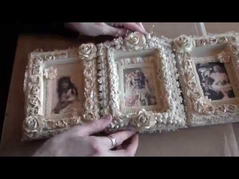 This is so beautiful to make with canvases turned upside down.  ▶ Vintage Shabbychic frames. - YouTube
