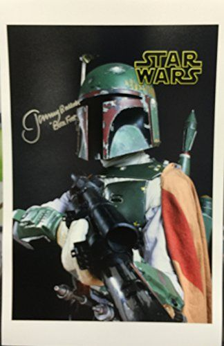Star Wars Boba Fett Actor Jeremy Bulloch SIGNED 11x17 Photograph Dark Background Holding Gun @ niftywarehouse.com #NiftyWarehouse #Geek #Products #StarWars #Movies #Film