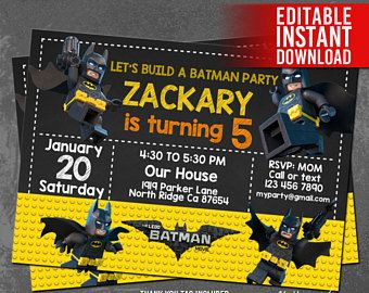Invita a invitaciones de Lego Batman, Lego Batman, fiesta de cumpleaños de Lego Batman, Lego Batman gracias etiqueta gratis, PDF Editable, descarga inmediata