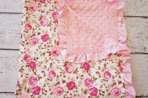 bébé minky, couverture bébé, couverture de bébé nouveau-né, couverture bébé personnalisée, couverture de bébé douce, filles cadeau de shower, minky, couverture pour bébé fille