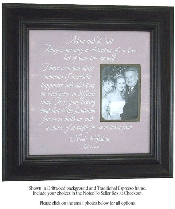 Wedding Gift To Parents Mother Father, Mom Dad Celebration
