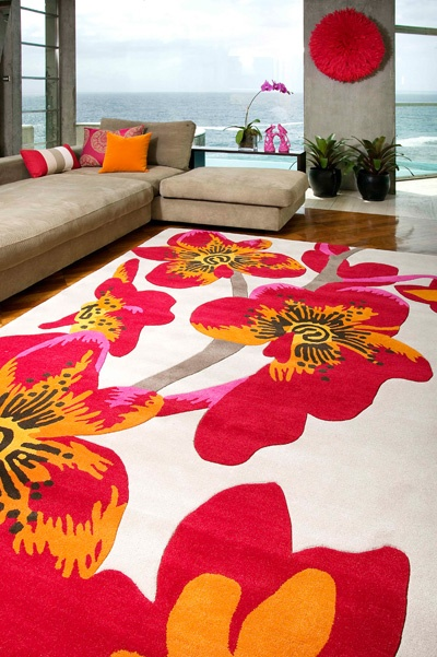Orchid rug. Jamie Durie Garden Room Range RRP $1,199  New Zealand wool blend   Hand tufted, plush pile with carved design