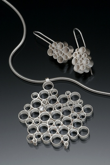 Bubblebath Necklace and Earring Set by Emily Hickman, Sterling Silver and White Sapphire. Photo by Doug Yaple.