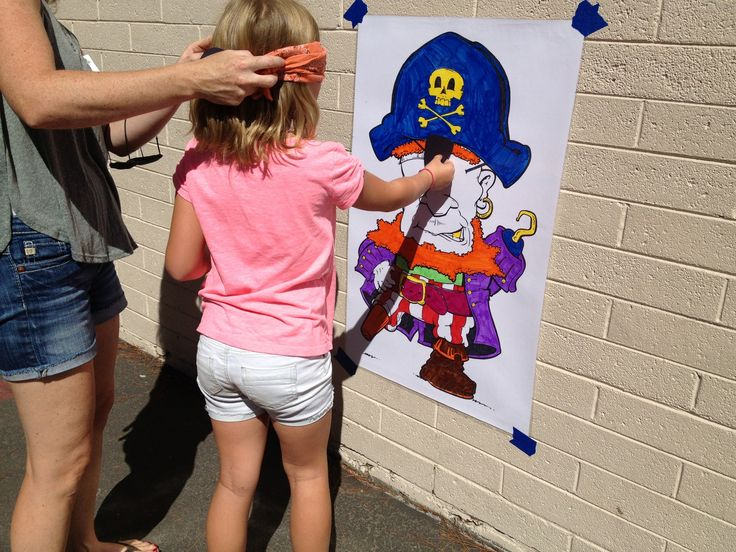Pin the eye patch on the pirate.