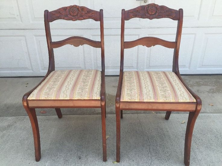 antique rose carved back mahogany wooden victorian dining chairs set of 2 ebay