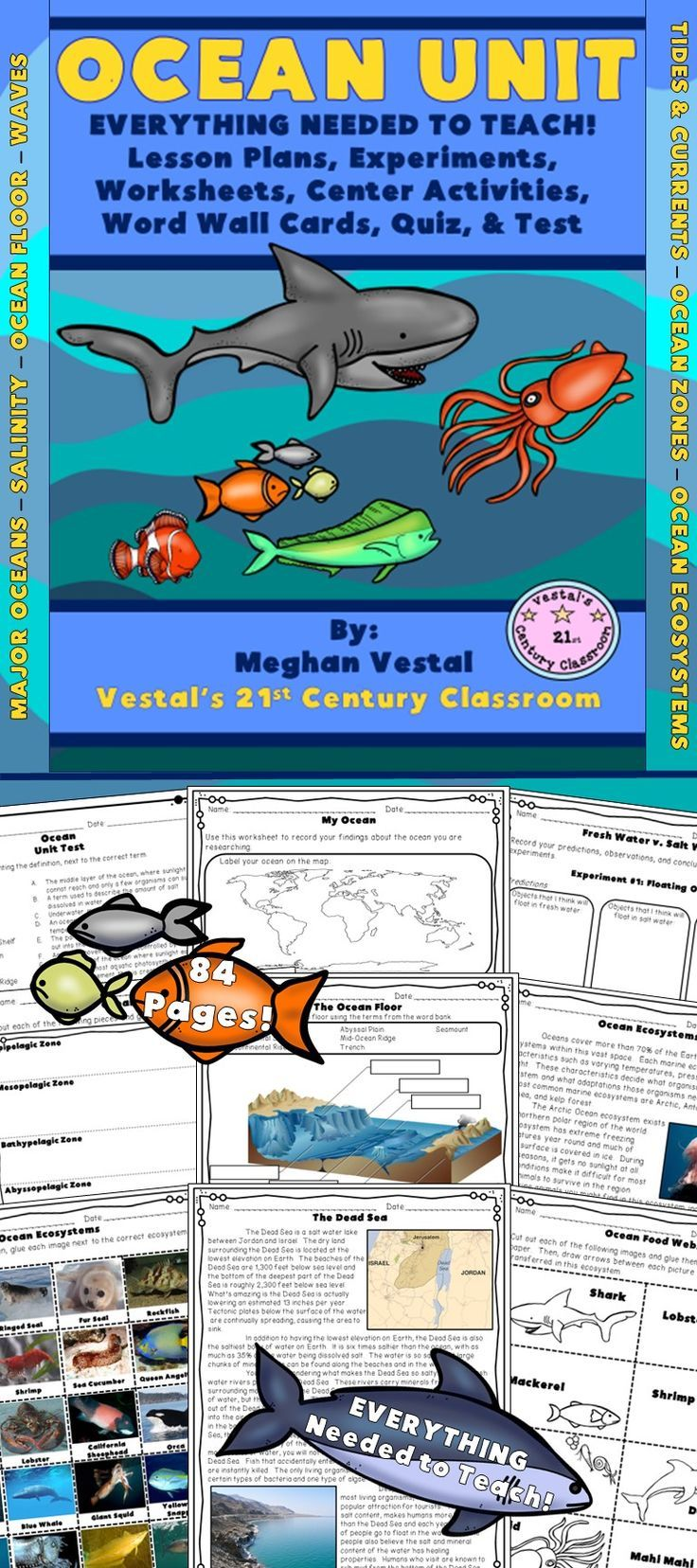 The ocean is an exciting topic to explore and EVERYTHING you need to teach a science unit on the ocean can be found in this 2 week, 84-page unit!  Topics taught include the major oceans, salinity, waves, tides, currents, the ocean floor, ocean zones, and ocean ecosystems.