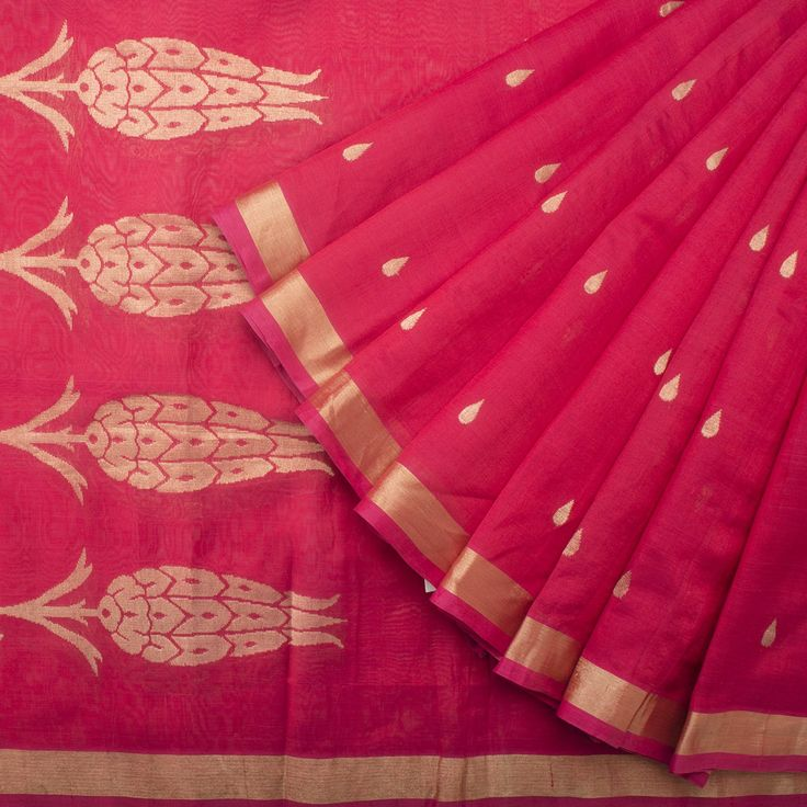 Madras George Handwoven Gulistan Silk Cotton Sari 1014342 - Sari / All Saris - Parisera