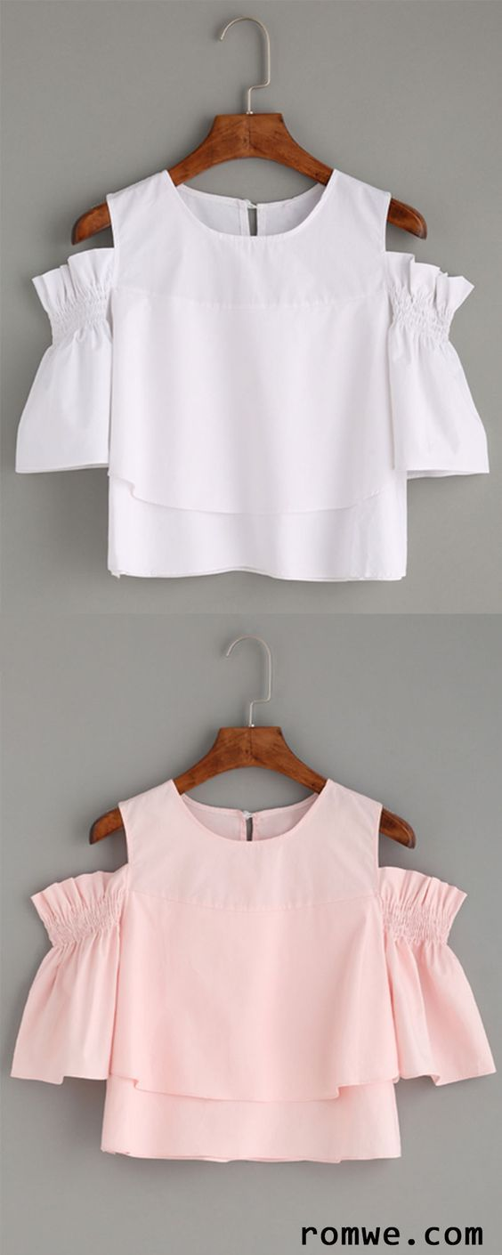 Cute Top - Ruffled Open Shoulder Blouse