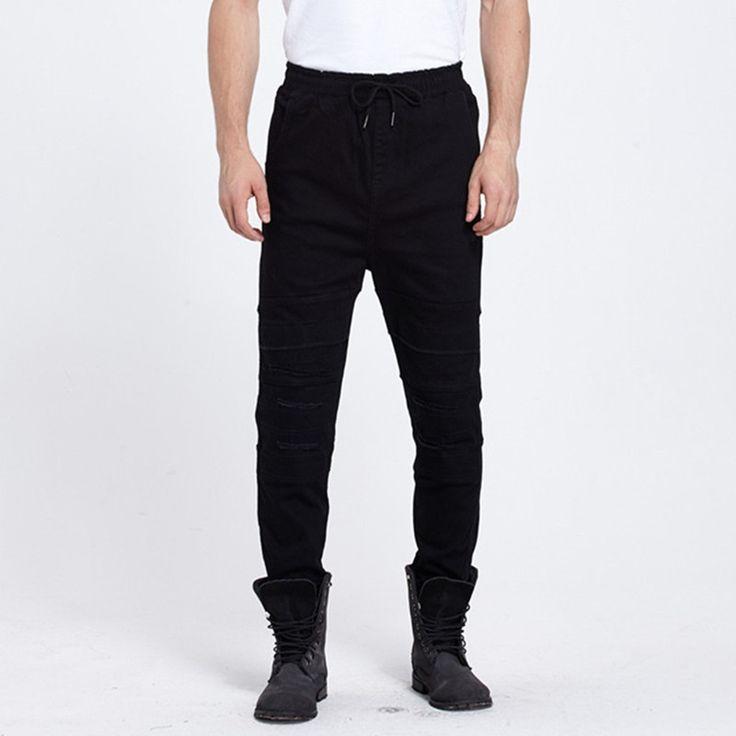 (26.17$)  Buy here  - Mens Denim Jeans Men Drawstring Slim Fit Denim Joggers Mens Joggers Jeans Pant Men Stretch Elastic Jean Pencil Pants Casual
