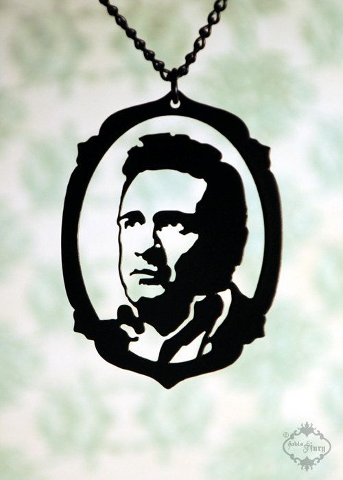 Johnny Cash tribute silhouette, portrait necklace in black stainless steel.