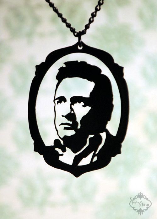 Download Johnny Cash tribute silhouette portrait necklace by ...