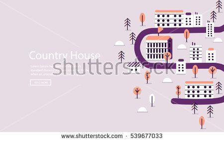 Vector flat  landscape illustration on violet background #vector #illustration #flat #design #art #cartoon #shutterstoke #creativemarket