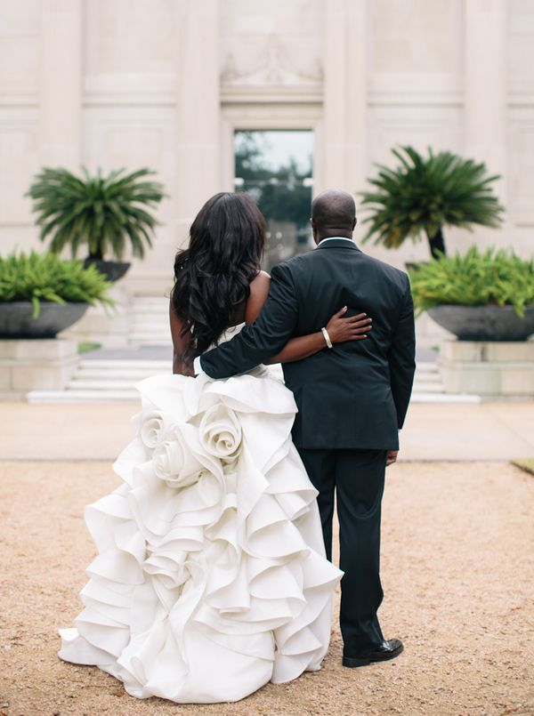 The back of this #wedding dress is a work of art! From http://snippetandink.com/carrie-james-houston-wedding-at-hotel-zaza/  Photo Credit: http://akilbennett.com/  Dress from http://kleinfeldbridal.com/