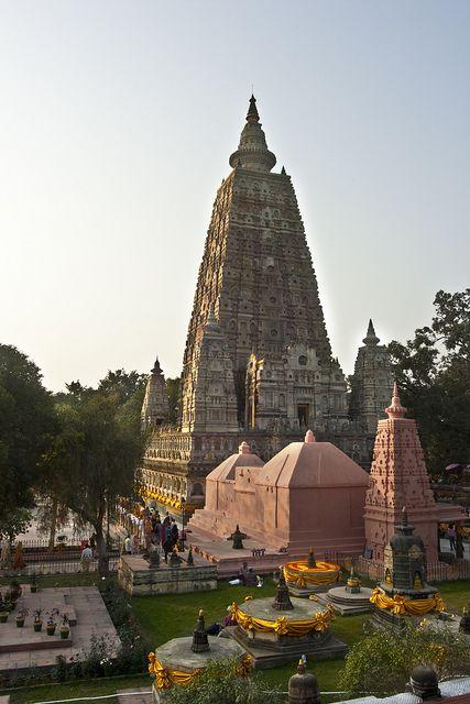 Mahabodhi Temple Complex at Bodh Gaya, Bihar, India