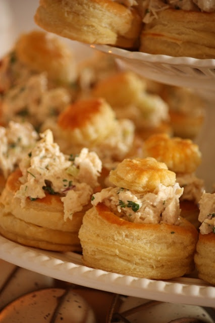 herbed chicken salad in puff pastry cups