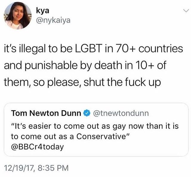 That's because there's nothing wrong with being LGBTQA. There is, however, something seriously wrong with believing that certain groups don't deserve basic human rights.